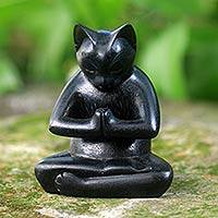 Wood sculpture, 'Black Cat Prayer' - Black Cat Praying in a Yoga Pose Signed Wood Sculpture