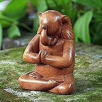 Wood statuette, 'Praying Elephant' - Handmade Balinese Suar Wood Statuette of Elephant at Prayer