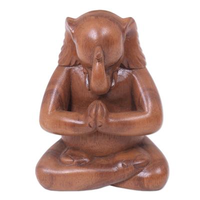 Wood statuette, 'Praying Elephant' - Handmade Balinese Suar Wood Statuette of Elephant at Prayer