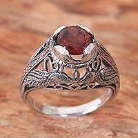 Garnet cocktail ring, 'Starling Romance' - Handcrafted Balinese Bird Theme Silver and Garnet Ring