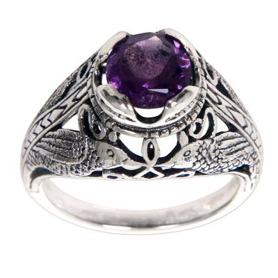 Bird Theme Amethyst and Sterling Silver Balinese Ring