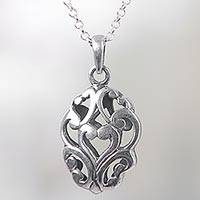 Sterling silver pendant necklace, 'Wishful Heart' - Bali Hidden Heart Pendant on 925 Sterling Silver Necklace