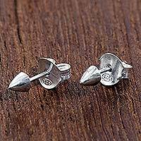Sterling silver stud earrings, 'End of the Arrow' - Handmade Sterling Silver Stud Earrings from Indonesia