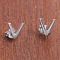 Sterling silver stud earrings, 'V is for Victory' - Shiny 'V' Shaped Stud Earrings Hand Crafted in 925 Silver