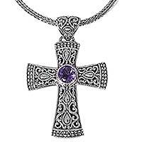 Amethyst pendant necklace, 'Tropical Cross'