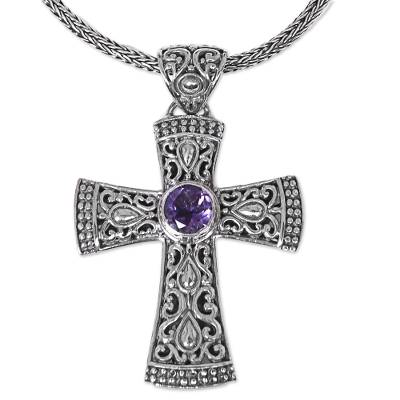 Amethyst pendant necklace, 'Tropical Cross' - Artisan Crafted Balinese Cross Necklace with Amethyst