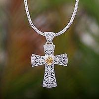 Citrine pendant necklace, 'Tropical Cross' - Artisan Crafted Balinese Citrine and Silver Cross Necklace
