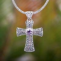 Amethyst pendant necklace, 'Magnificent Cross' - Ornate Sterling Silver and Amethyst Cross Necklace