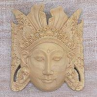 Wood mask, 'Jayaprana' - Hand Carved Wood Mask of Jayaprana Floral from Indonesia