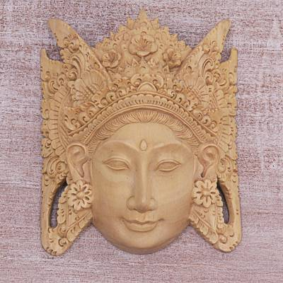 Wood mask, 'Layonsari' - Hand Carved Wood Mask of Layonsari Floral from Indonesia