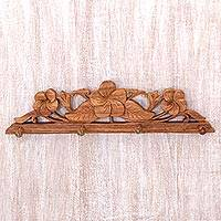 Wood coat and key rack, 'Sweet Frangipani' - Balinese Wood Coat Rack with Hand Carved Flowers