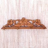 Wood coat and key rack, 'Sweet Frangipani'