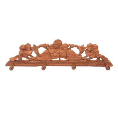 Wood coat and key rack, 'Sweet Frangipani' - Balinese Wood Coat Rack with Hand Carved Flowers