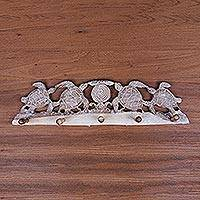 Wood coat rack, 'Turtle Bay Beach' - Whitewashed Wood Five Hook Coat Rack with Turtle Engraving