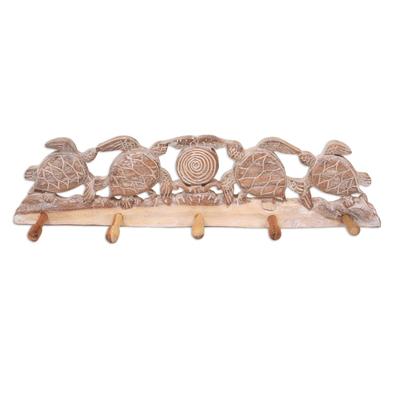 Wood coat rack, 'Turtle Bay Beach' - Whitewashed Wood Five Hook Coat Rack with Turtle Engraving