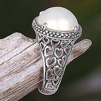 Cultured pearl cocktail ring, 'Glowing Moon' - Hand Made Cultured Pearl Cocktail Ring from Indonesia
