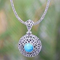 Turquoise pendant necklace, 'Serene Gianyar Moon' - Balinese Turquoise Necklace Crafted of Sterling Silver