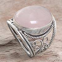 Novica Rose quartz single stone ring, Bali Eye in Pink