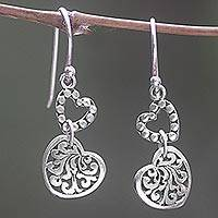 Sterling silver dangle earrings, 'Dangling Hearts' - Hand Made Sterling Silver Heart Dangle Earrings Indonesia