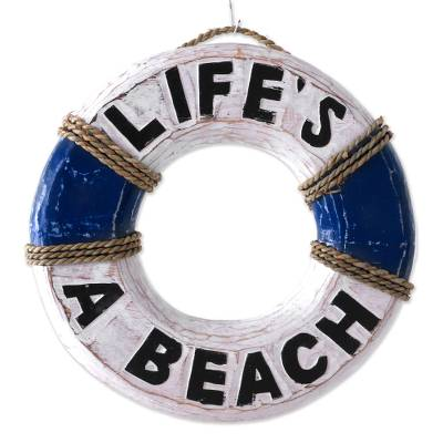 Wood sign, 'Life Ring' - Hand Made Wood Nautical Sign Beach Ring from Indonesia