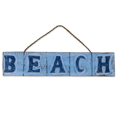 Wood sign, 'Beach in Sky Blue' - Hand Carved Beach Wood Sign Agel Grass from Indonesia