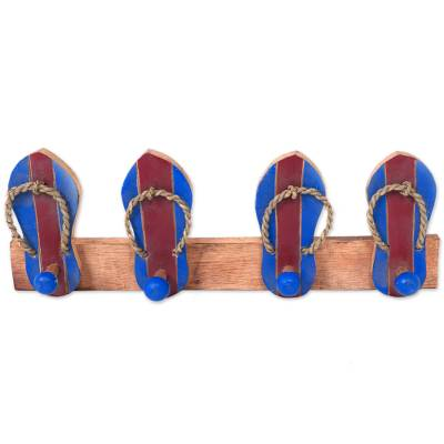 Wood coat rack, 'Flip Flops in Maroon and Blue' - Hand Carved Wood Coat Rack Agel Grass from Indonesia