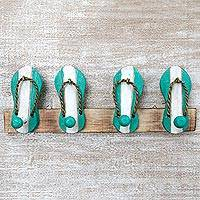 Wood coat rack, 'Flip Flops in Aqua and White' - Hand Carved Wood Coat Rack Agel Grass from Indonesia