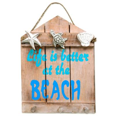 Beach and Nautical Distressed Wood Coat Rack from Indonesia