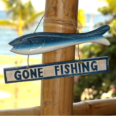 Wood sign, 'Gone Fishing' - Hand Made Wood Fish Shaped Nautical Sign from Indonesia