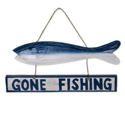 Hand Made Wood Fish Shaped Nautical Sign from Indonesia