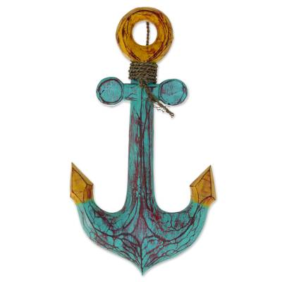 Wood wall art, 'Anchors Aweigh' - Hand Carved Wood Wall Art Agel Grass from Indonesia