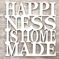 Wood wall art, 'Happiness is Homemade in White' - Hand Made Inspirational Wood Wall Art White from Indonesia