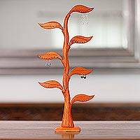 Wood earring holder, 'Bay Leaf in Brown'