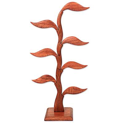 Wood earring holder, 'Bay Leaf in Brown' - Hand Carved Natural Wood Earring Holder with Bay Leaves