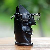 Wood eyeglasses stand, 'Jovial Face' - Hand Carved Bali Black Wood Sculpture Eyeglasses Stand