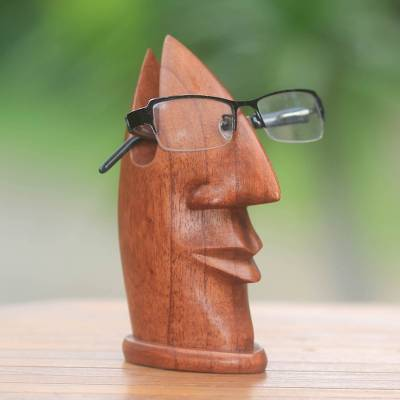 02debb37c96 Natural Wood Glasses Holder with Facial Form from Bali - Friendly ...