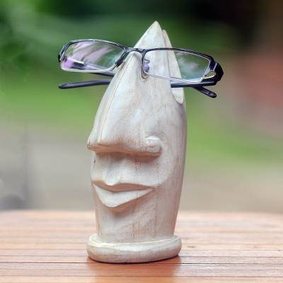 Wood glasses holder, 'Friendly Face in White' - White Wood Glasses Holder with Facial Form from Bali