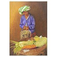 'Prepare the Offering' (2008) - Oil Painting of Balinese Woman Preparing Temple Offering