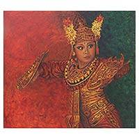 'Condong' (2015) - Oil on Canvas Painting of Female Balinese Condong Dancer