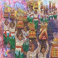 'Mepeed Ceremony' 2015 - 'Mepeed Ceremony' Balinese Original Oil Painting on Canvas