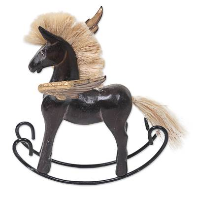 Hand Made Black Rocking Horse Sculpture from Indonesia