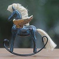 Wood sculpture, 'Flying Horse in Blue' - Hand Made Blue Rocking Horse Sculpture from Indonesia