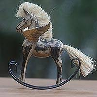 Wood sculpture, 'Flying Horse in Tan' - Hand Made Black Tan Rocking Horse Sculpture from Indonesia