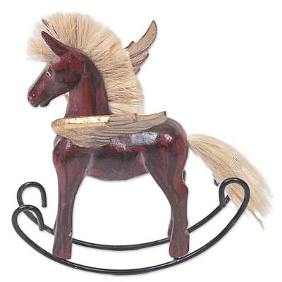 Hand Made Red Rocking Horse Sculpture from Indonesia