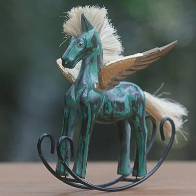 Wood sculpture, Flying Horse in Green