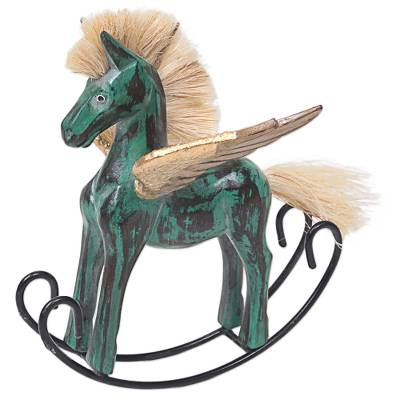 Hand Made Green Rocking Horse Sculpture from Indonesia