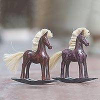 Wood sculptures, 'Red and Purple Horses' (pair) - Hand Made Wood Sculptures Rocking Horses (Pair) Indonesia
