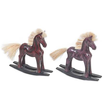 Hand Made Wood Sculptures Rocking Horses (Pair) Indonesia