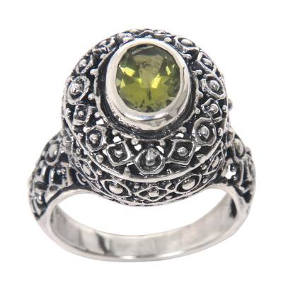 Peridot cocktail ring, 'Ornate Jungle Wreath' - Ornate Balinese Sterling Silver Ring with Peridot