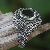 Garnet cocktail ring, 'Ornate Jungle Wreath' - Ornate Balinese Garnet and Sterling Silver Ring